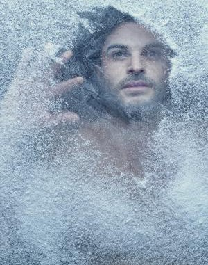 guy in frosty window